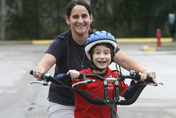 Boy and Mom on a Tandem Bike