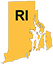 Rhode Island state outline with yellow fill and RI initials